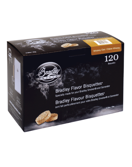 Bradley Smoker Wood Bisquettes, Whiskey Oak Flavor, 120 Pack